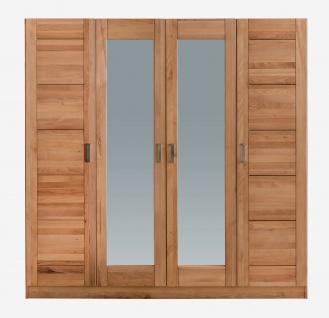 ELFO Kleiderschrank TOLLOW 4S Kernbuche Massivholz, 4türiger Schrank, 2 Mitteltüren mit Spiegel, Schlafzimmerschrank mit 6 Einlegeböden, 1 Hutboden, 1 Kleiderstange, Zubehör optional, durchgehende Lamelle an der Front, viel Stauraum für Ihr Schlafzimmer