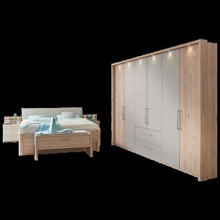 Wiemann Andorra Schlafzimmer Drehtüren-Funktionsschrank mit 2 Auszügen Bett 2 Nachtkonsolen mit Ankleidebank in Steineiche-Nachbildung Absetzungen Kieselgrau-Dekor