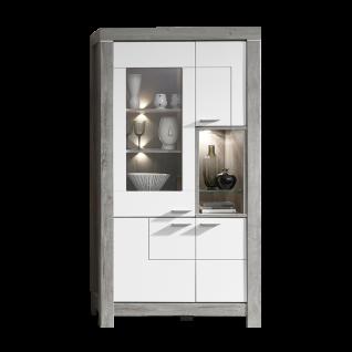 Wohn-Concept Granada Vitrine Type 02 mit vier Türen und einem offenen Fach für Ihr Wohnzimmer oder Esszimmer Standvitrine inkl. LED-Beleuchtung Korpus Haveleiche Nachbildung Front wählbar