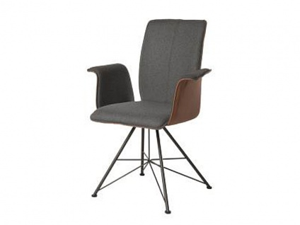 Bert Plantagie Stuhl Tara Spin 833 mit Bi-Color-Polsterung (zweifarbig) Polsterstuhl für Esszimmer Esszimmerstuhl mit Armlehnen Gestellausführung und Bezug in Leder oder Stoff wählbar