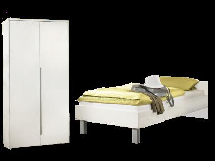 Paidi Fabiana Jugendzimmer bestehend aus Liege 90x200 cm und Kleiderschrank 2T in Glanzweiß weitere Beimöbel optional wählbar