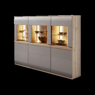 Stralsunder Binz Highboard Ausführung Korpus Naturbuche mit Fronten in Grau matt optional mit geschroppten Rückwänden und passender Beleuchtung für Ihr Wohnzimmer