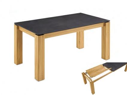 Niehoff ROCA Esstisch Design-Ausziehtisch mit Frontslidefunktion für Esszimmer Tisch mit Massivholz Gestell Ausführung der Keramik-Tischplatte und Größe wählbar