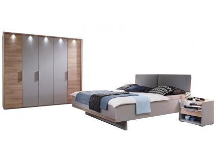 Rauch Steffen Samoa Schlafzimmer-Set 4-teilig bestehend aus Bett mit Polsterkopfteil inklusive 2 stehenden Nachtkommoden und Drehtürenschrank 5-türig