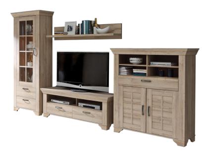 FORTE Hamilton 4-teilige Wohnwand KLDM02L für Ihr Wohnzimmer Wohnkombination mit Vitrine TV-Unterschrank Highboard und Wandpaneel im Dekor Bianco EIche