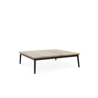 Niehoff Garden Freeport Loungetisch G283-062-000 ca. 88, 9 x 88, 9 cm quadratischer Tisch mit Gestell in Aluminium Anthrazit pulverbeschichtet mit Tischplatte in Teak Massivholz für Ihren Garten oder Terrasse