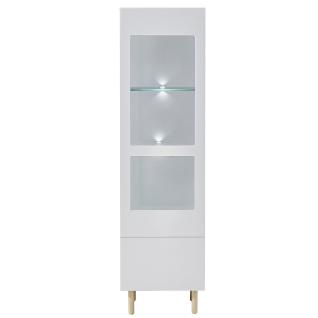 Innostyle Wohnen K2 Front lichtgrau MDF lackiert Korpus lichtgrau matt Art.Nr. 10G79901 Vitrine für Ihr Wohnzimmer inklusive LED-Beleuchtung
