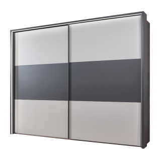 Wiemann Korfu Schwebetürenschrank 2-türig in Dekor Graphit mit Dekor Weiß Größe wählbar optional mit Dämpferset und beleuchtetem Passepartout