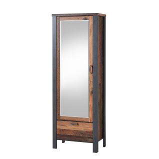 Innostyle Cardiff Garderobenschrank 3095VV02 mit einer Spiegeltür und einem Schubkasten in Used Style dark Nachbildung und Matera Nachbildung