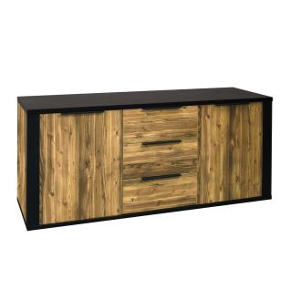 Mäusbacher Mailo Sideboard 0615-SB_23 im Dekor Appenzeller Fichte dunkel Nachbildung und Schwarzstahl Dekor mit zwei Türen drei Schubkästen