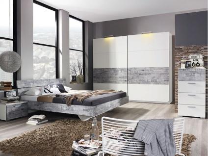 Rauch Select Sumatra-Extra Schlafzimmer 2-teilig in alpinweiß mit Absetzungen in Vintage-Optik grau Bett Liegefläche wählbar Schwebetürenschrank 2-türig optional mit Nachttischen Kommode und beleuchteten Seitenteilen