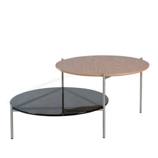 Eve collection Couchtisch Riva II mit zwei runden Platten und Edelstahlgestell Wohnzimmertisch 2 x ca. 64 cm Durchmesser Tisch in wählbarer Ausführung für Ihr Wohnzimmer