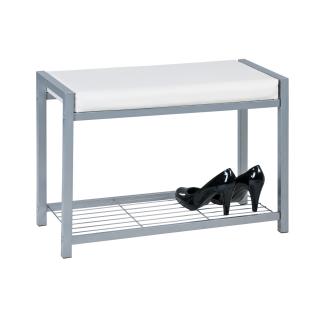Reality Paula R8015-87 Schuhbank in der Ausführung silber/weiß Material Metall silber/Lederlook für Ihre Diele oder Ankleidezimmer