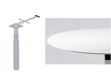 Vierhaus Couchtisch 1866 runde Glas-Tischplatte weiß matt höhenverstellbar mit ILse-Button-Tele-Lift Mechanik - Vorschau 5