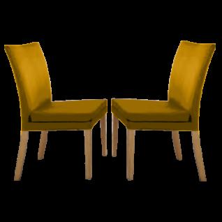 2er-Set Niehoff Linea Dining Time Stuhl Colorado mit 4-Fuß-Gestell in Holz Kernbuche Wachseffektlack mit Sitz in Bezug Nappo Senf -532 ***AM LAGER***