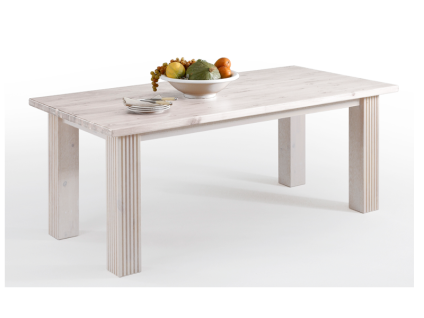 Euro Diffusion Boston Esstisch 180 Kiefer Massivholz in weiß mit wählbarer Absetzung der Tischplatte