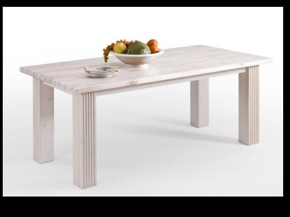 Euro Diffusion Esstisch BOSTON 180 Kiefer Massivholz in weiß mit Absetzung der Tischplatte wählbar in weiß antik kolonial oder lava optional mit 4 Stühlen