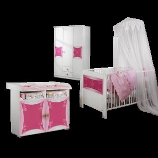 Rauch Packs Kate Babyzimmer 3-teilig bestehend aus Drehtürenschrank Wickelkommode Babybett in alpinweiß mit Absetzung Printdekor Prinzessin