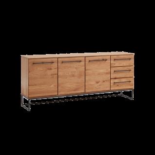 Niehoff Simply Sideboard Charaktereiche Massivholz gebürstet/ geölt Front und Korpus Massivholz Kommode mit Schubkästen und Türen für Wohnzimmer und Esszimmer
