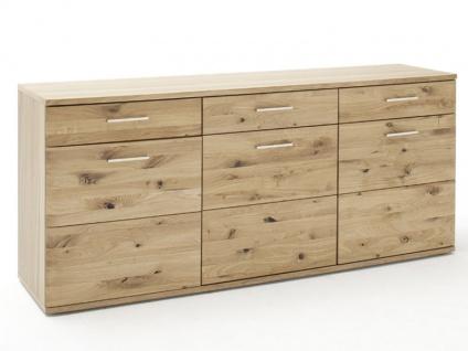 MCA furniture Santori Sideboard SAN17T02 Front Asteiche Bianco Massivholz für Ihr Wohnzimmer oder Esszimmer mit 4 Türen und 2 Schubkästen
