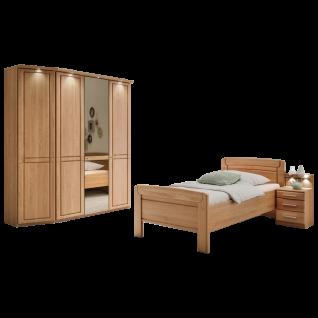 Wiemann Cortina Seniorenzimmer Bett mit Nachtkonsole 4-türiger Drehtürenschrank mit Kranzleiste und LED-Beleuchtung