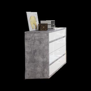 Forte Canmore Kommode CNMK211 mit vier Schubkästen Sideboard für Jugendzimmer mit Korpus in Betonoptik Lichtgrau und Front in Weiß Hochglanz Dekor