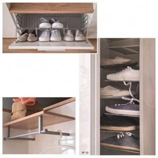 Wittenbreder Come In Garderobenkombination Nr. 12 komplette Garderobe für Ihren Flur und Eingangsbereich 5-teilige Vorschlagskombination in Weiß Lack Hochglanz und Wildeiche Bianco Furnier mit Alternativgriff matt Metallteile in matt - Vorschau 3