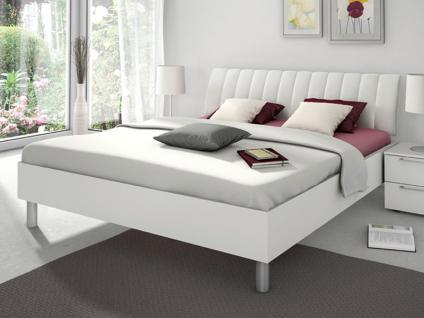 Nolte Sonyo Bett Doppelbett 1 Bettrahmen eckig mit Polster-Rückenlehne 2 Leder-Nachbildung Weiß