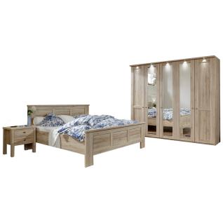 Wiemann Bergamo Schlafzimmer-Kombination 4-teilig bestehend aus Kleiderschrank 5-türig sowie Bett mit Liegefläche von ca. 180 x 200 cm inklusive 2 Nachtschränken Ausführung wählbar