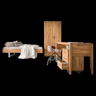 Skalik Meble Mido Jugendzimmer Bett Kleiderschrank Schreibtisch Rollcontainer Eiche Massivholz Natur geölt