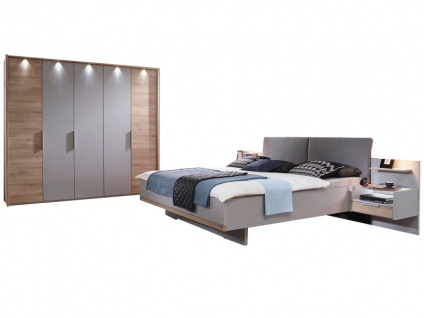 Rauch Steffen Samoa Schlafzimmer-Set 6-teilig bestehend aus Bett mit Polsterkopfteil inklusive 2 hängenden Nachtkommoden mit Paneel und Drehtürenschrank 5-türig