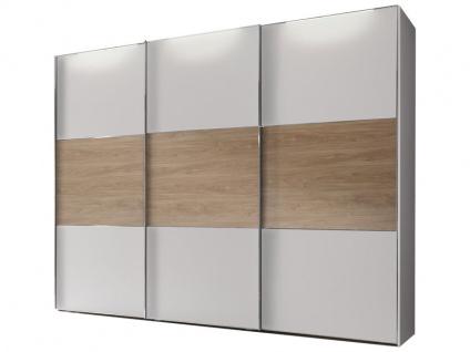 Staud Includo Schwebetürenschrank 3-türig mit Extra Innenausstattung Korpus und Front in Dekor weiß Türen mit Mittelband in Dekor Eiche Puccini