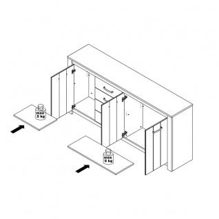 Forte Elara Sideboard ERXK241 für Ihr Wohnzimmer oder Esszimmer Kommode mit Türen und Schubkästen mit Korpus und Front in Weiß matt Dekor und Absetzungen in Bianco Eiche Nachbildung - Vorschau 3