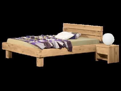 Neue Modular Primolar Bett Pino mit Kopfteil Pino und Füssen Pino aus Wildeiche Massivholz natur geölt Liegefläche 180x200 cm optional mit Nachttisch