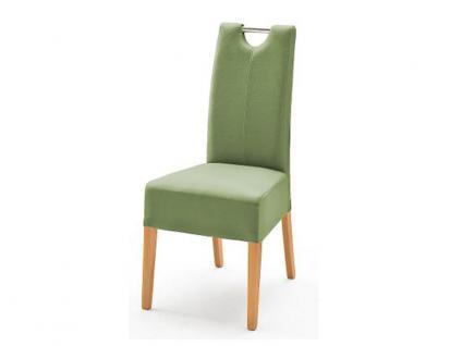MCA Direkt Stuhl Enya Bezug Argentina in der Farbe kiwi 2er Set Polsterstuhl für Wohnzimmer und Esszimmer Ausführung 4 Fuß Massivholzgestell und Chromgriff