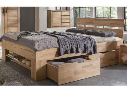 ELFO Futonliege SOFIE mit Kopfteil Kernbuche Massivholz mit 4 Bettkästen auf Rollen Zubehör optional Futonbett mit Fußteilregal viel Stauraum für Ihr Schlafzimmer