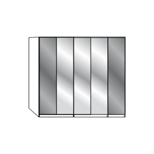 Wiemann Loft Gleittüren-Panorama-Funktionsschrank in 250 cm Breite Korpus und Teil-Front wählbar mit Spiegeltüren