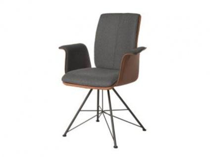 Bert Plantagie Stuhl Tara Spin Komfort 833C mit Bi-Color-Mattenpolsterung (zweifarbig) Polsterstuhl für Esszimmer Esszimmerstuhl mit Armlehnen Gestellausführung und Bezug in Leder oder Stoff wählbar