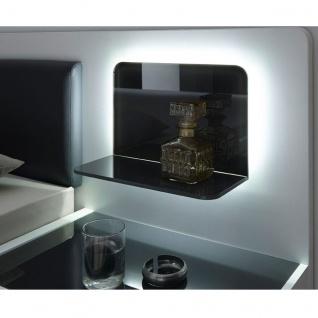 Schlafkontor Turin Bettanlage inkl. 2 Nachtkommoden und Glaspaneel mit LED Beleuchtung Liegefläche ca. 180 x 200 cm Rahmenausführung in Weiß Nachbildung mit grauen Absetzungen Kopfteil gepolstert mit Kunstleder - Vorschau 3