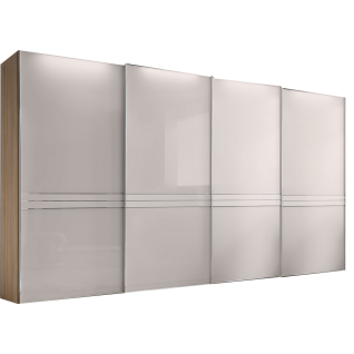 Staud Sinfonie Plus Panorama-Schwebetürenschrank Ausführung 173G 4-türig Korpus in Dekor Front vollverglast Bauchbinde in Glas matt/Spiegel satiniert wählbar mit 5 Zierleisten waagerecht je Tür