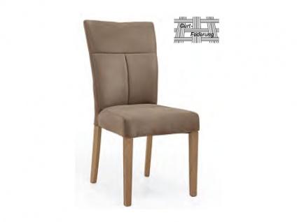 Niehoff Polsterstuhl 1031 Stuhl passend zur Eckbank Melina Gestell 4-Fuß Massivholz Stuhl für Wohnzimmer und Esszimmer Gestellausführung und Bezugsfarbe wählbar