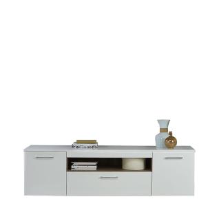 Forte Babila Lowboard BBLT131 für Ihr Wohnzimmer TV-Unterschrank mit zwei Türen einem Schubkasten und einem offenen Fach Dekor Korpus Weiß matt kombiniert mit Weiß Hochglanz Front Weiß Hochglanz Absetzungen Picea Kiefer Nachbildung