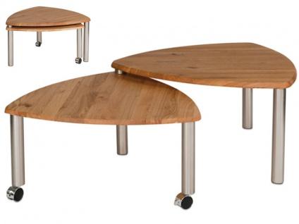 Vierhaus Couchtisch 4317 -WEIX mit zusätzlicher ausdrehbarer Tischplatte aus Massivholz in Wildeiche auf Rollen