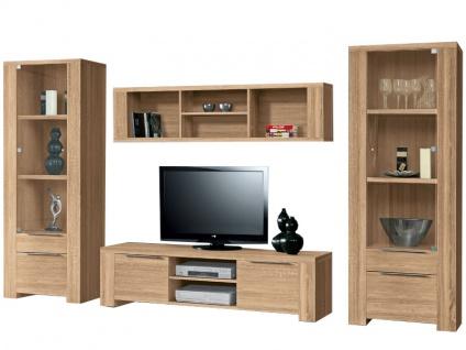 FORTE Calpe Wohnwand Calpe 4-teilige Wohnkombination mit TV-Unterschrank Hängeregal und zwei Vitrinen Dekor wählbar