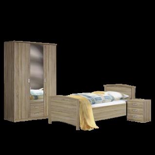 Rauch Packs Julia Schlafzimmer 3-teilig bestehend aus 1x Bett mit Liegefläche ca. 100 x 200 cm 1x Nachttisch mit 3 Schubkästen und 1 Drehtürenschrank 3-türig mit 2 Schubkästen Farbausführung Dekor-Druck Eiche Sonoma