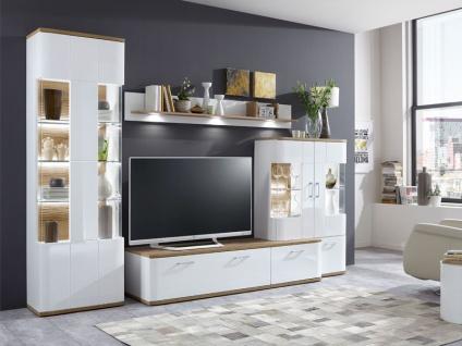 IDEAL-Möbel Wohnwand Paris I Kombination 28 mit Vitrine Hängevitrine und TV-Element Anbauwand für Wohnzimmer Ausführung in weiß oder graphit wählbar