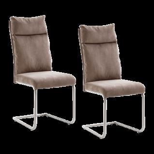 MCA furniture Freischwinger Pia 2er-Set Bezug Mikrofaser Antiklook oder Chenille-Optik Rückenlehne mit Griff Rundrohrgestell Edelstahl gebürstet