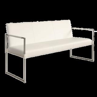 Bert Plantagie Sitzbank Vivian mit Armlehnen mit Edelstahl-Gestell ausgestattet Banklänge wählbar Bezug Leder Tendens blanco LD9000