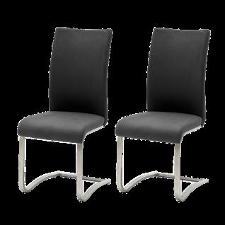 MCA furniture Freischwinger Arco I 2er-Set mit Kunstlederbezug schwarz Art.Nr. ARCO1EPS Gestell Flachrohr Edelstahl gebürstet Schwingstuhl für Ihre Küche oder Ihr Esszimmer
