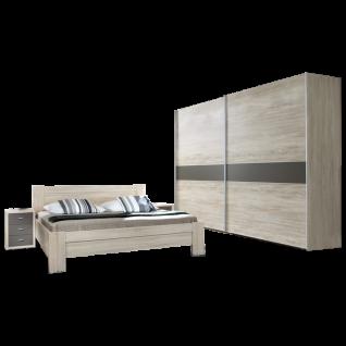 Wiemann Donna Schlafzimmer Kompaktbett mit Nachtkonsolen und Schwebetürenschrank in Eiche-Sägerau-Nachbildung mit Absetzungen in Havanna-Dekor